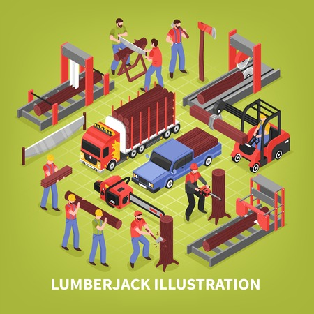 Lumberjack isometric vector illustration with sawmill workers and special trucks for timber transportation Standard-Bild - 108467054