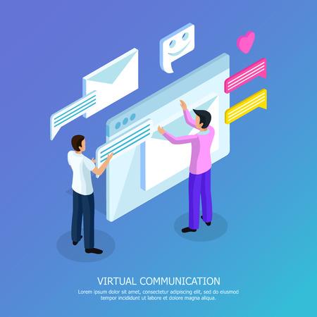Isometrisches Hintergrundplakat der virtuellen Kommunikation mit zwei Männern, die E-Mail-Textnachrichtensymbolvektorillustration senden und öffnen Vektorgrafik