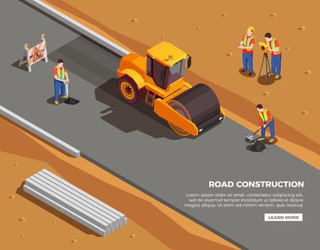 Bauherren und Vermesser mit Maschinen und Warnschildern während der Straßenbau-isometrischen Zusammensetzungsvektorillustration