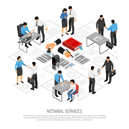 Notarial services isometric composition with persons during execution of documents on white background vector illustration