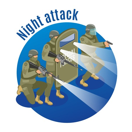 Military special forces with weapons and protective equipment during night attack on blue background isometric vector illustration