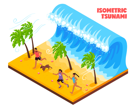 Natural disaster in south country isometric vector illustration with people and animals running from tsunami wave