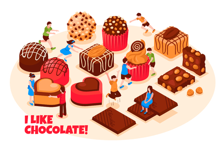 I like chocolate design concept with wide range of chocolate sweets pastry and bars isometric vector illustration Illustration