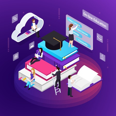 E-learning distance education colorful glow composition with students using virtual library personal support online vector illustration