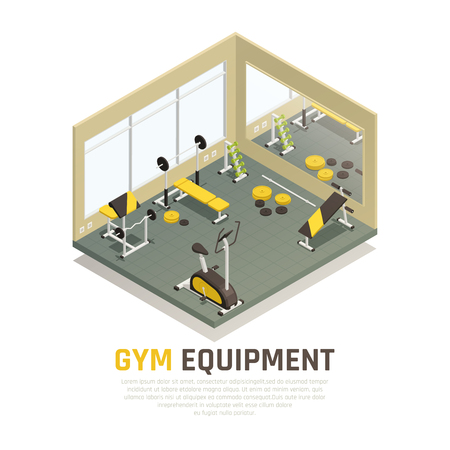 Sport hall with black yellow exercise equipment and mirror on wall isometric composition vector illustration