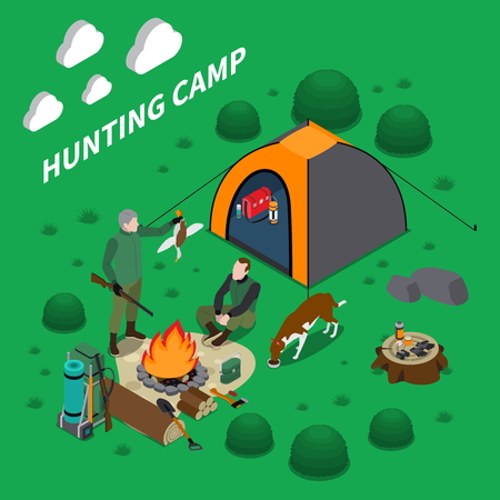 Hunting camp isometric composition with men dog and campfire symbols vector illustration