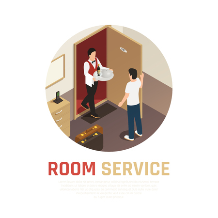 Room service round composition with waiter bringing tray of food to hotel room isometric vector illustration