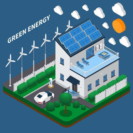 Green energy generation for household consumption isometric composition with roof solar panels and wind turbines vector illustration