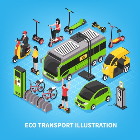 Eco transport isometrische vectorillustratie met stadsbus elektrische auto's fietsenstalling mensen rijden gyroscoop en scooter Vector Illustratie