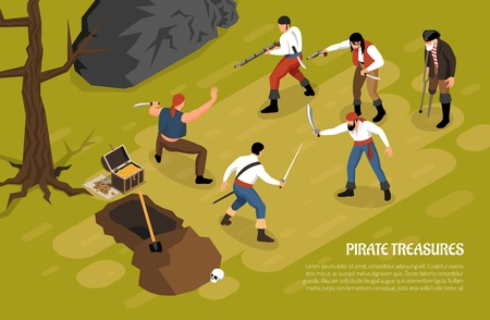 Armed men during fight for pirate treasures on green background horizontal isometric vector illustration