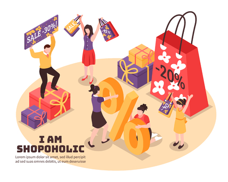 Shopaholism isometric composition joyful human characters with purchases with discounts in colorful packaging  vector illustration Illustration