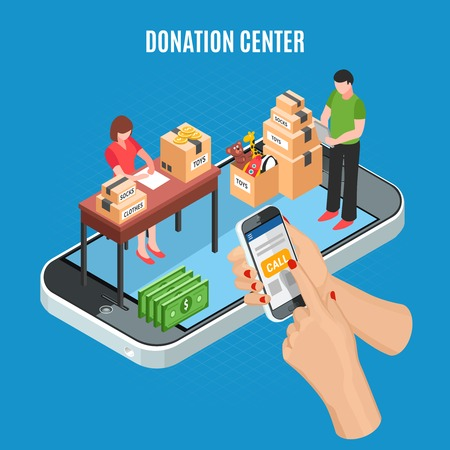 Donation center isometric background with mobile app for call and employees sorting cardboard boxes of charitable items vector illustration