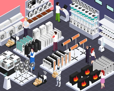 Smart home climate heating cooling elements sale automated shop isometric composition with radiators fans customers vector illustration Illustration
