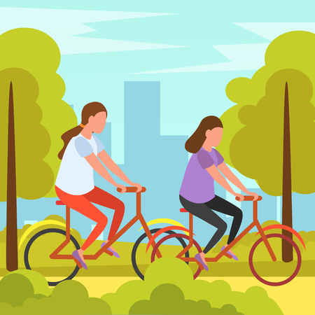 Best friends summer holidays vacation outdoor activity orthogonal composition  with girls cycling in park together vector illustration