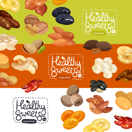 Nuts and dried fruits horizontal banners set with peanut apricot prune pineapple cashew hazelnut flat isolated vector illustration