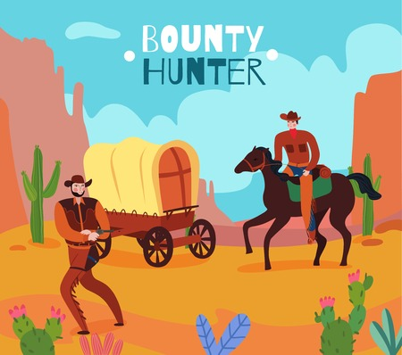 Wild west cowboy composition with desert scenery and vintage human characters with flat images and text vector illustration Vectores