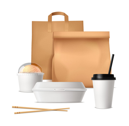 Fast food package design concept with paper bags plastic containers and glasses for drinks and ice cream realistic vector illustration