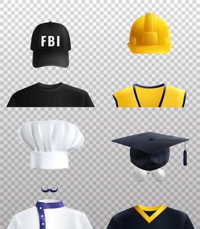 Different professions hats set with cook and FBI symbols realistic isolated vector illustration