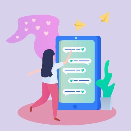 Orthogonales Hintergrundplakat der virtuellen Datierung mit dem glücklichen Mädchen, das Liebesnachrichten auf Telefonvektorillustration sendet und empfängt