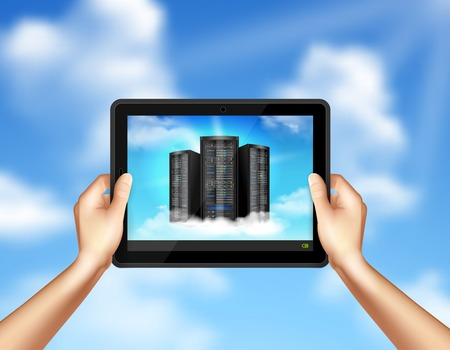 Cloud storage service realistic composition with hands holding tablet with computer drives image sky background vector illustration