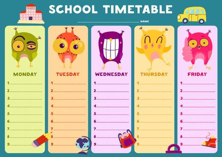 Plantilla de horario escolar en blanco colorido con ilustración de vector plano de búhos emocionales