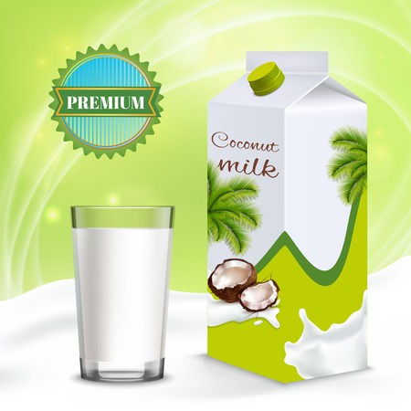 Coconut milk premium plant product for  vegetarians and vegans isometric composition with package and full glass vector illustration 矢量图像