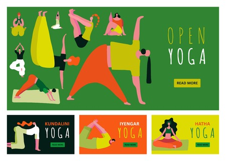 Bright colorful banners set with people silhouette training yoga asanas flat isolated vector illustration Illustration