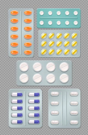 Realistic set of medicine blister packs with pills and capsules isolated on transparent  background vector illustration