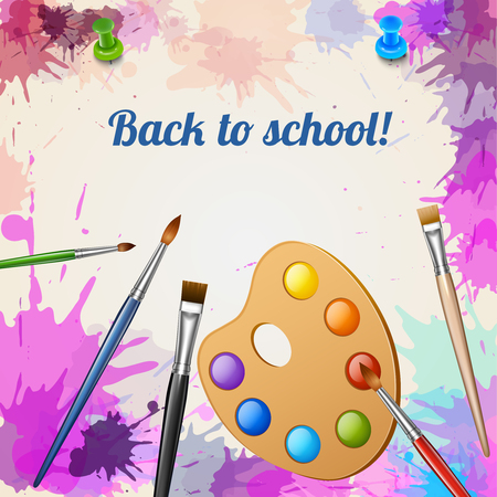 Back to school realistic poster with palette and brushes on abstract background painted with watercolor blots vector illustration