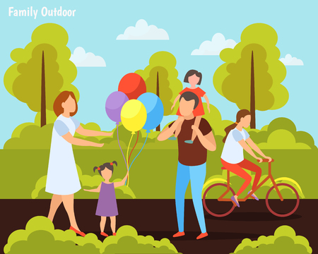 Family with kids summer weekend activities orthogonal composition with bike riding in countryside outdoor games vector illustration Illustration