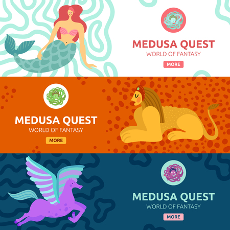 Colorful horizontal banners set with various mythical creatures flat isolated vector illustration