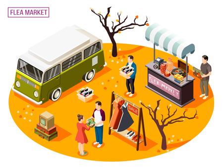 Composición isométrica con gente haciendo compras en el mercado de pulgas al aire libre ilustración vectorial 3d