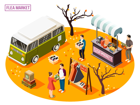 Isometric composition with people doing shopping at outdoor flea market 3d vector illustration Stock Vector - 109732673
