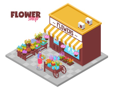 Isometric florist background with ornate text and view of outdoor shop selling different bouquets of flowers vector illustration