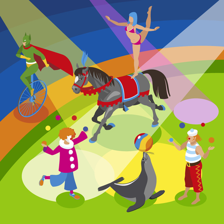 Performers and entertainment composition with clowns jugglers and animals flat vector illustration