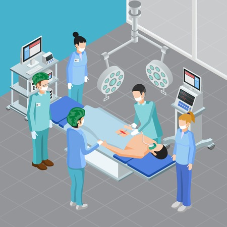 Medical equipment isometric composition with view of surgery room with apparatus and people during surgical attack vector illustration Illustration