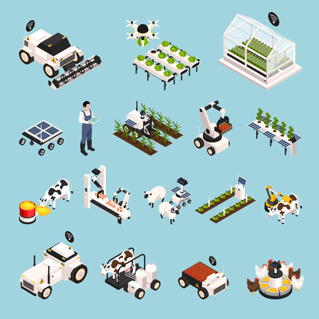 Smart farm set with technology symbols isometric isolated vector illustration