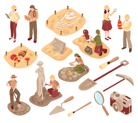 Archeology isometric set scientists with professional equipment during research of ancient artifacts isolated vector illustration Ilustração