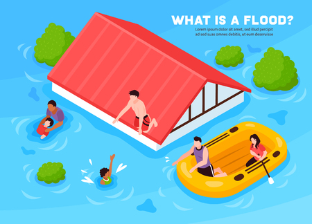 What is flood isometric poster with people leaving their  house on inflatable boat vector illustration