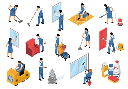 Cleaning service isometric icons set with professional industrial vacuuming furniture carpets refreshing stain removing isolated vector illustration Ilustração Vetorial