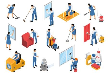 Le icone isometriche di servizio di pulizia hanno messo con i tappeti aspiranti industriali professionali della mobilia che rinfrescano l'illustrazione di vettore isolata rimozione Vettoriali