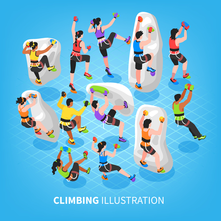 Isometric climbing wall background with set of human characters of mountain climbers equipped with mountaineering equipment vector illustration
