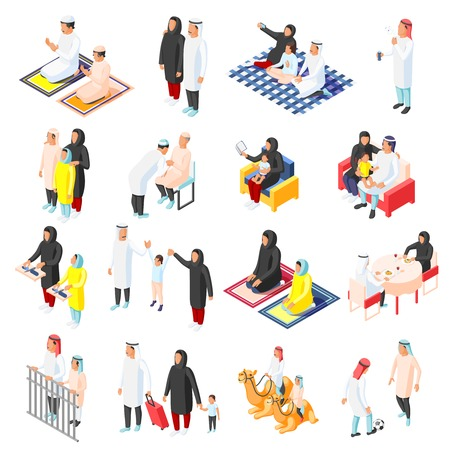Isometric icons set with arabic families and their children in different situations isolated on white background 3d vector illustration Vektoros illusztráció
