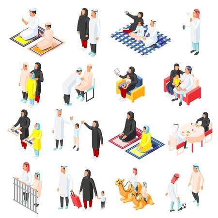 Isometrische pictogrammen instellen met Arabische gezinnen en hun kinderen in verschillende situaties geïsoleerd op witte achtergrond 3D-vectorillustratie Vector Illustratie