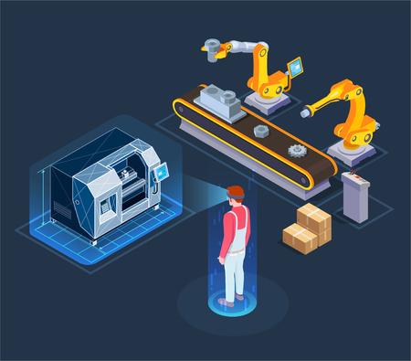 Aplicaciones industriales de realidad aumentada con línea de producción robótica automatizada asistente virtual composición isométrica fondo negro ilustración vectorial