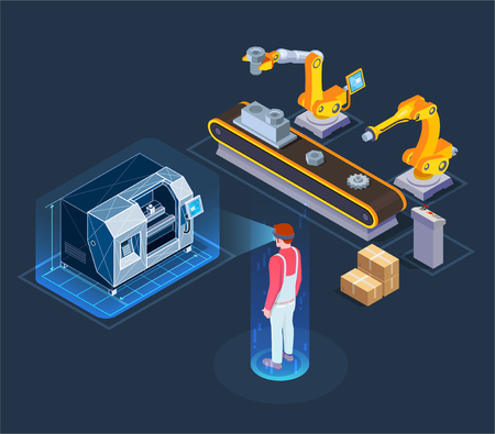Industrial augmented reality applications with automated robotic production line virtual assistant isometric composition black background vector illustration