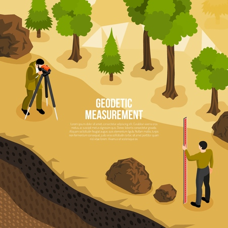 Geologist field work isometric composition with 2 men taking geodetic measurements of earth surface vector illustration