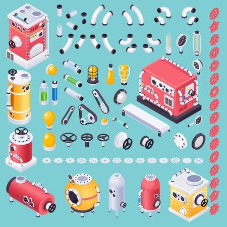Steampunk-Maschinenkonzept mit Ideengeneratorsymbolen auf Vektorillustration des blauen Hintergrunds