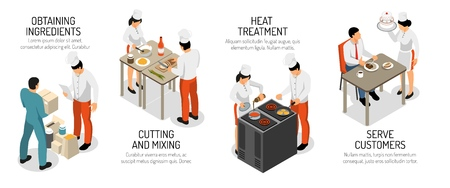 Professional kitchen horizontal infographic isometric composition with cutting mixing ingredients cooking frying baking serving customers vector illustration Illustration