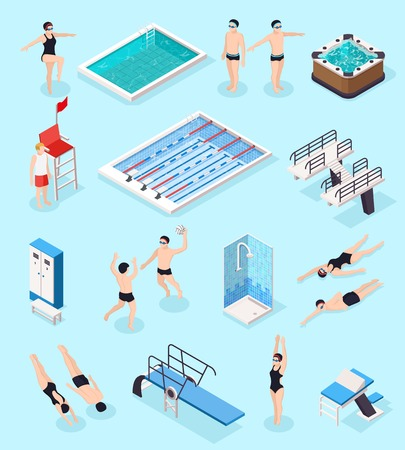 Swimming pool isometric set with equipment symbols isolated vector illustration